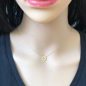 Mini 14K Yellow Gold Cut-out Moon/Star Necklace
